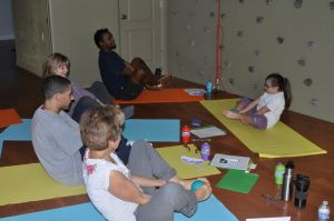 "Mia teaching at a ""Yoga Therapy For Every Special Child"" workshop"